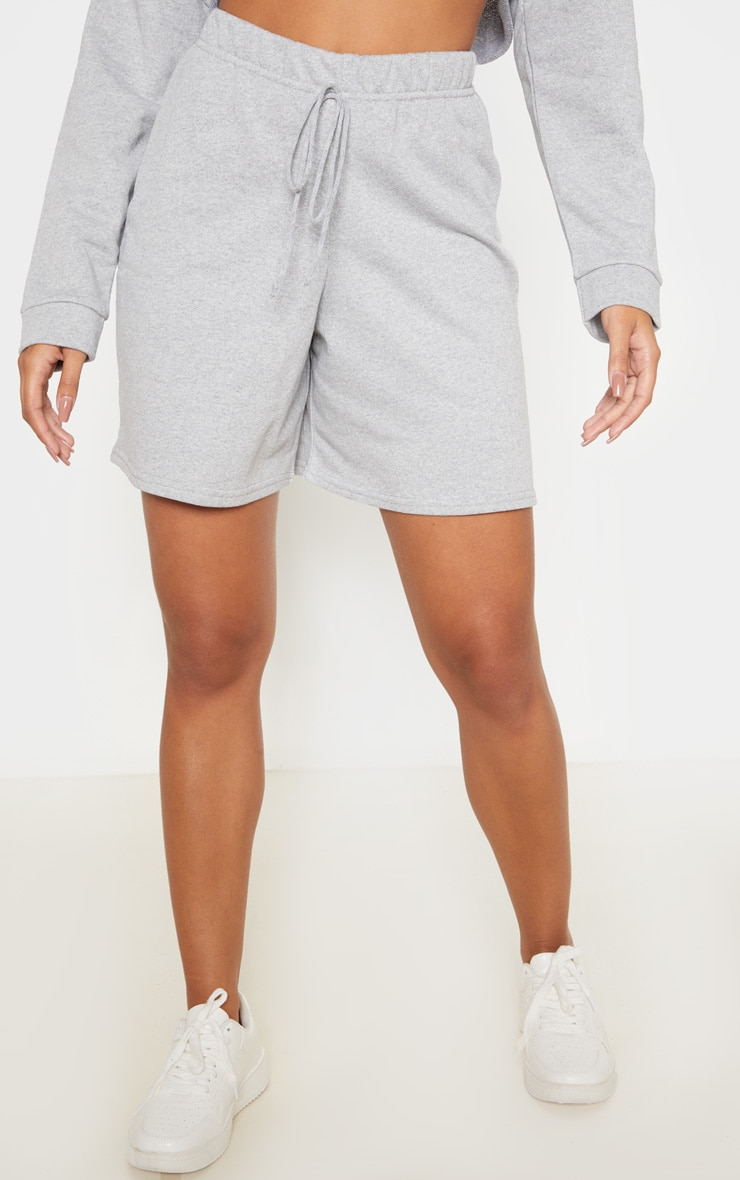 Grey Longline Sweat Shorts 2
