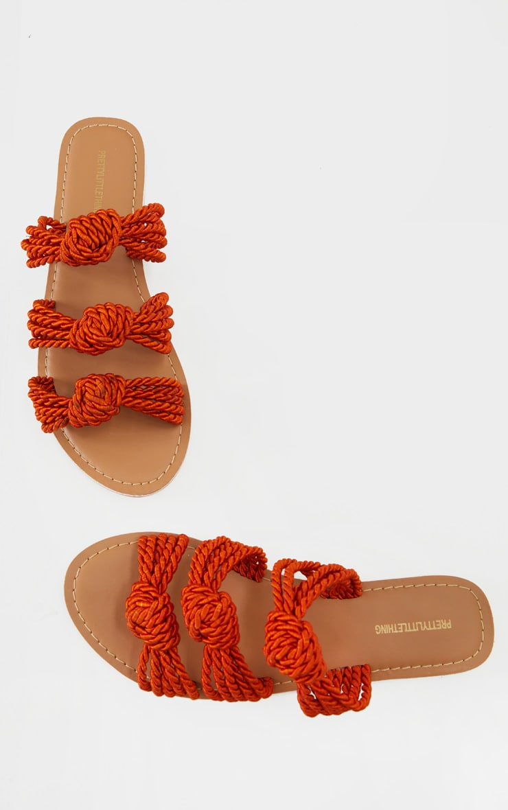 Rust Triple Strap Knot Rope Sandals 4