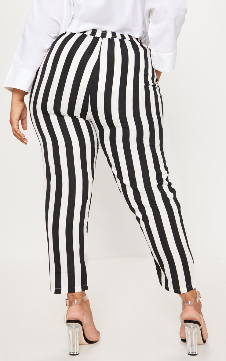 Plus Black Striped Casual Pants  4