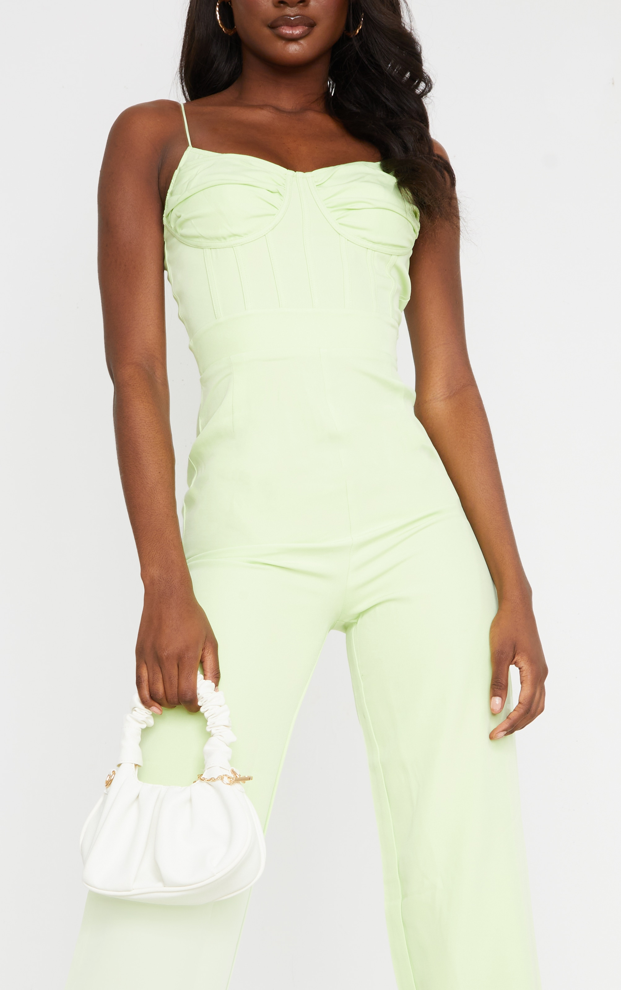 Tall Lime Ruched Cup Corset Detail Wide Leg Jumpsuit 4
