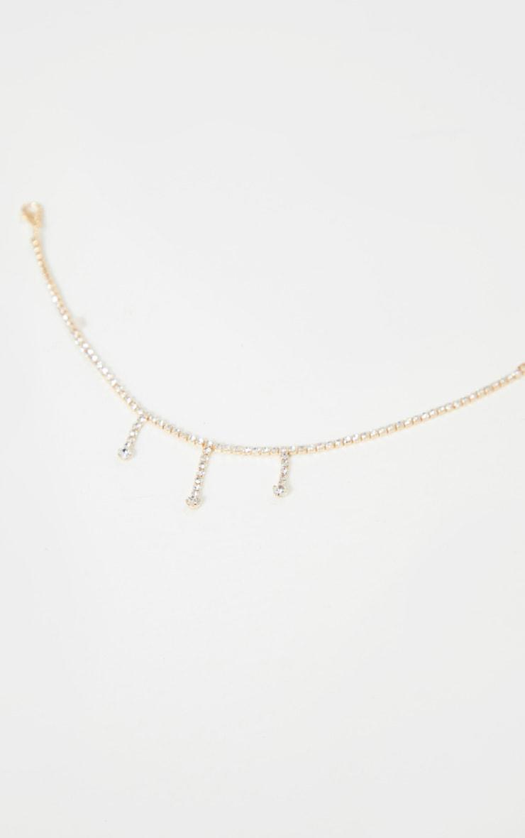 Gold Tassel Diamante Anklet 2