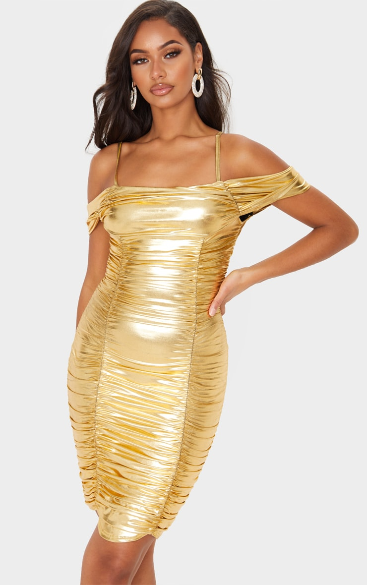 Gold Metallic Ruched Cold Shoulder Bodycon Dress 4