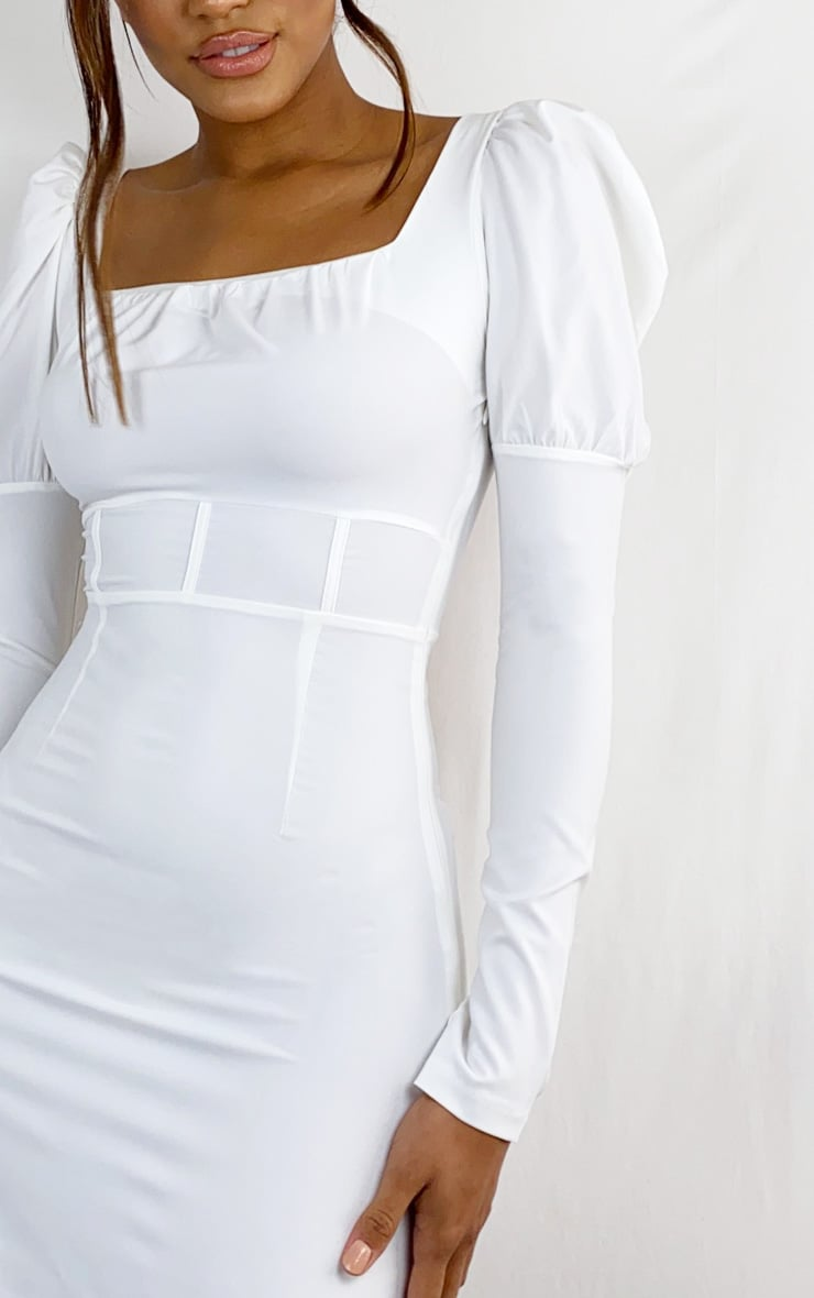 White Puff Sleeve Square Neck Waist Detail Shift Dress 4