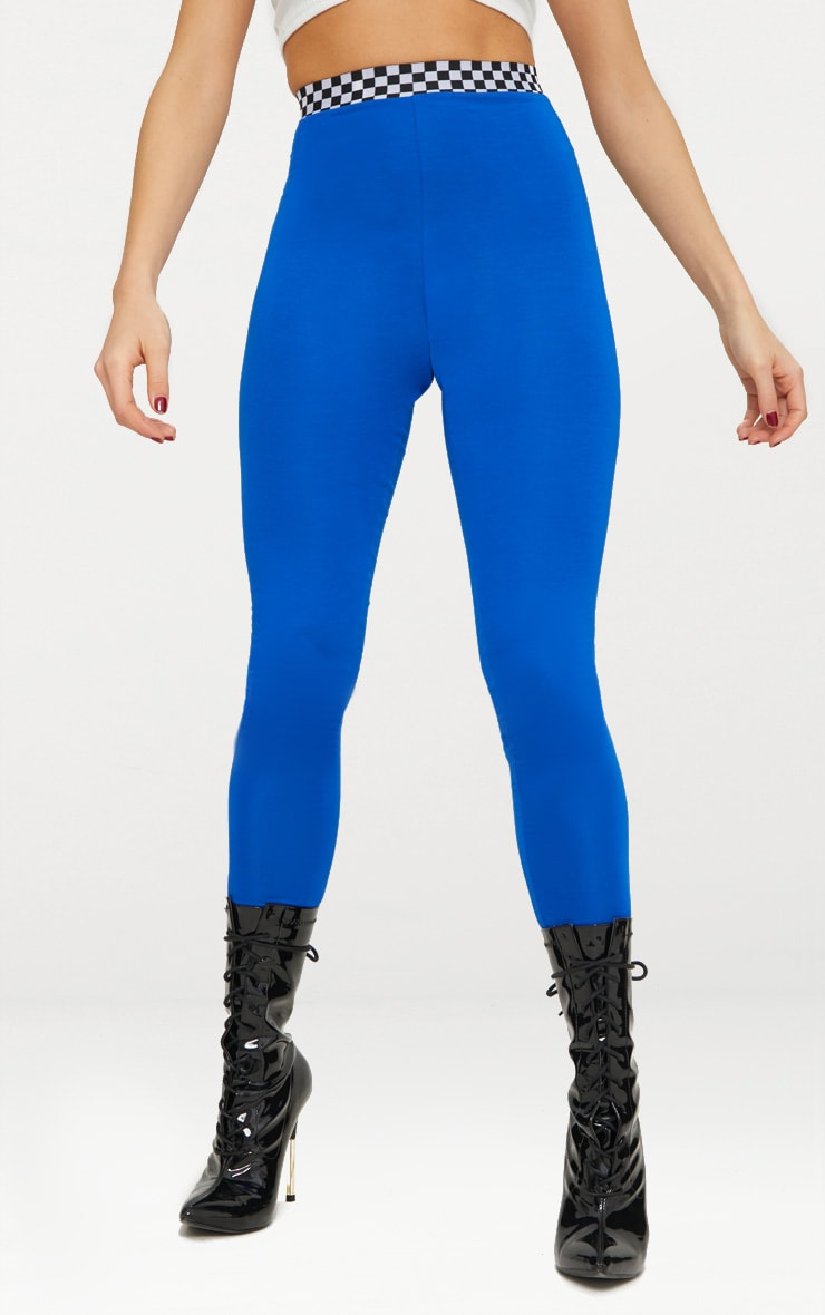 Cobalt Checkerboard Trim Leggings  2