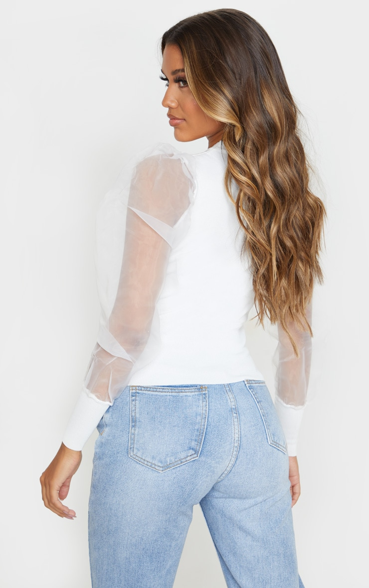 White Organza Puff Sleeve Sweater 2
