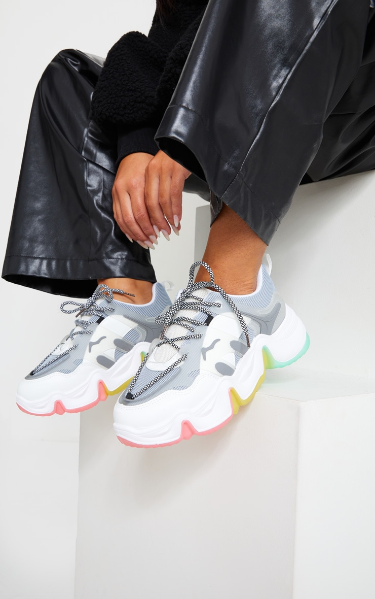 Grey Chunky Multi Wave Sole Trainers 1