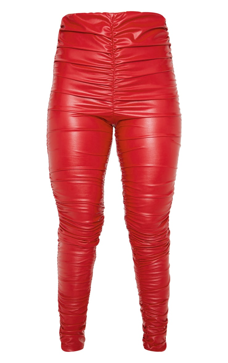 Red Faux Leather Ruched Legging  3
