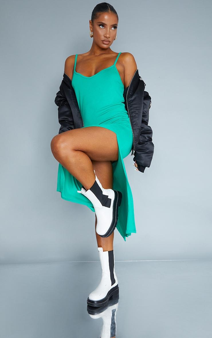 Green Jersey Split Cami Midi Dress 1