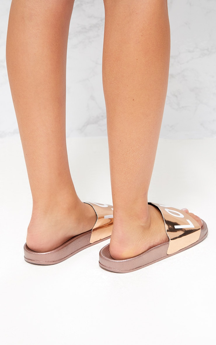Rose Gold Metallic LOVE Sliders 4