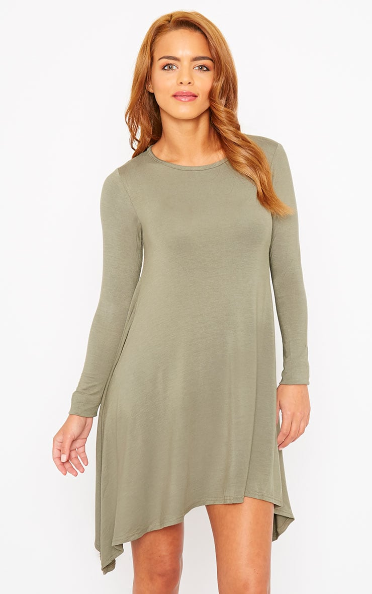 Basic Khaki Swing Dress 1