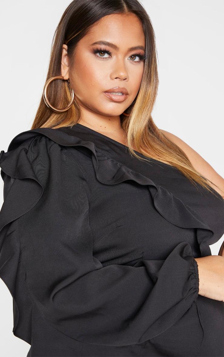 Plus Black Asymmetric Frill Detail Shift Dress 5