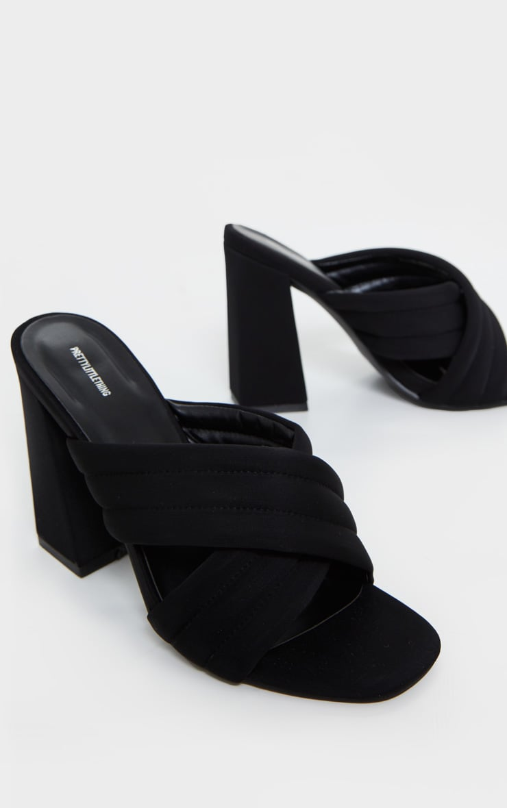 Black Wide Fit Cross Strap Cushioned Mule Sandals 3