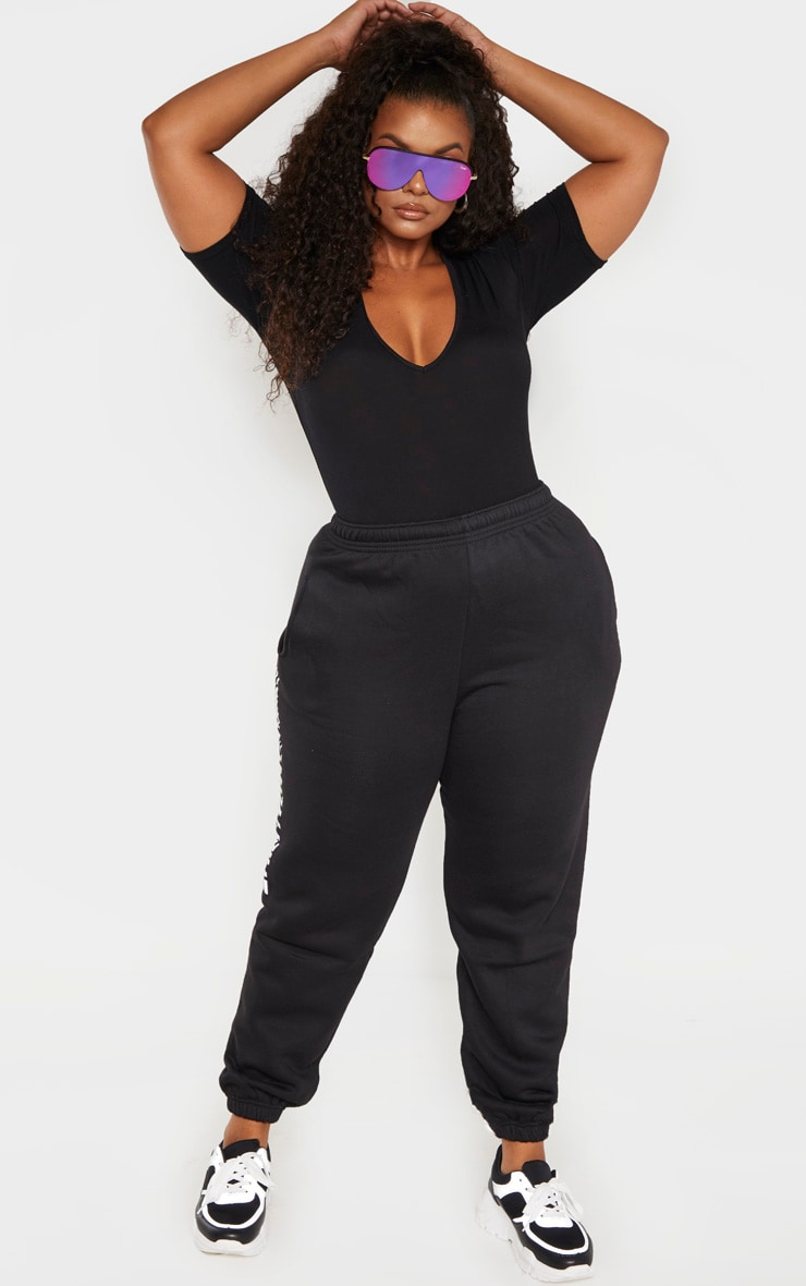 Plus Black Jersey V Neck T Shirt Bodysuit  4
