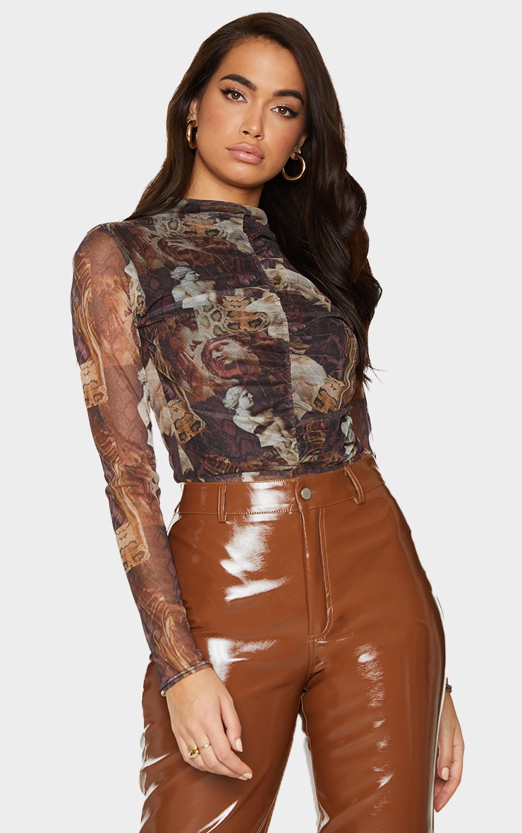 Brown Animal Renaissance Printed Mesh Ruched Front Long Sleeve Bodysuit 1