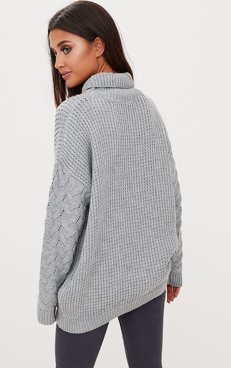 Grey Cable Knit Sleeve Jumper 2