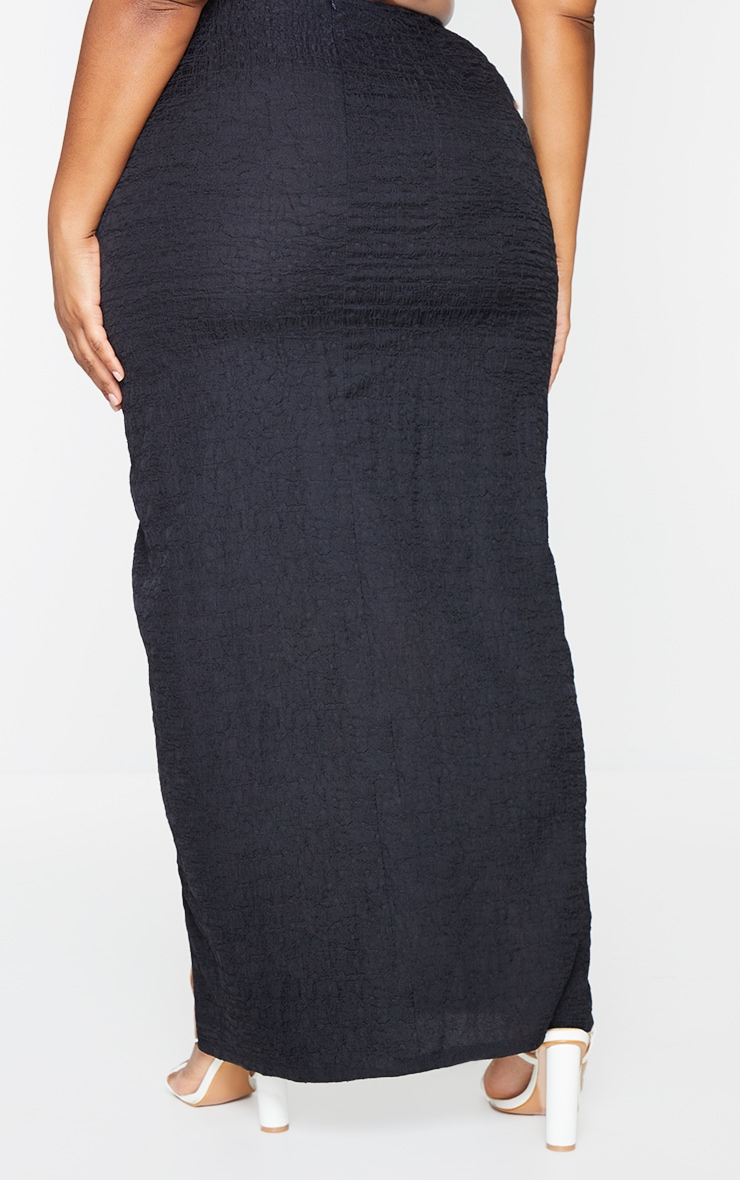 Plus Black Cut Out Textured Knot Front Midaxi Skirt 3