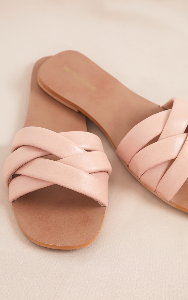 Pale Pink Real Leather Quilted Cross Over Strap Mule Sandals 4