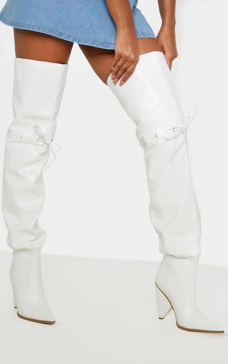 White Cone Heel Thigh High Boot 1