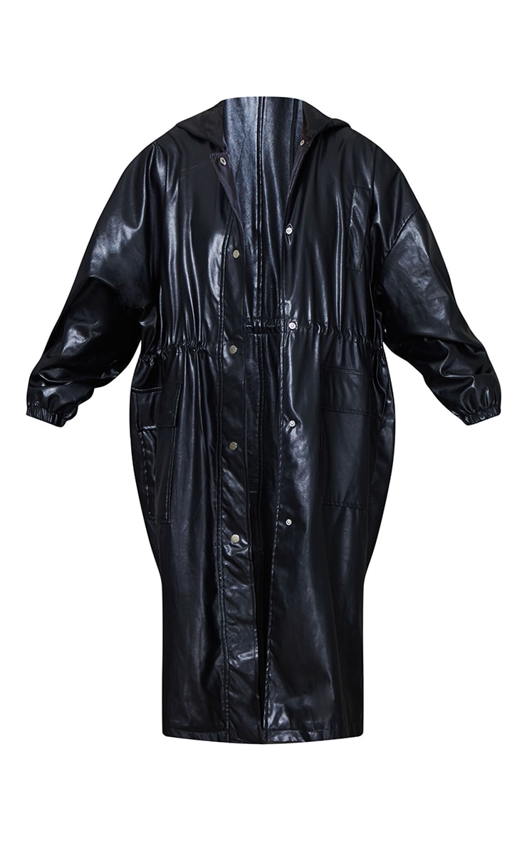 Black Faux Leather Balloon Sleeve Oversized Trench 5