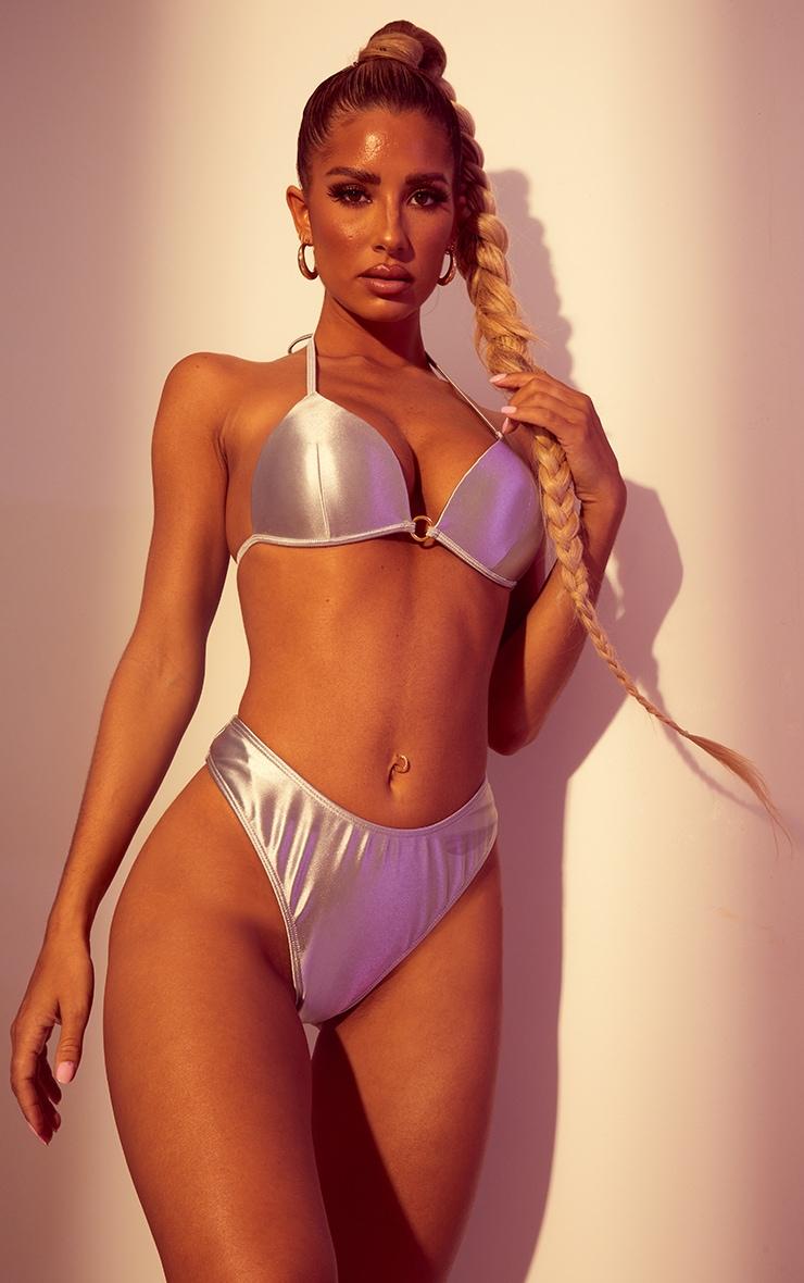 Silver Ring Padded Triangle Bikini Top