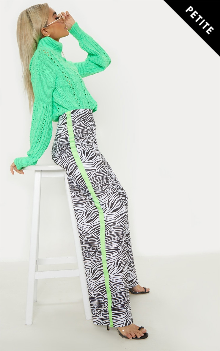 Petite White Zebra Print Neon Stripe Wide Leg Trouser