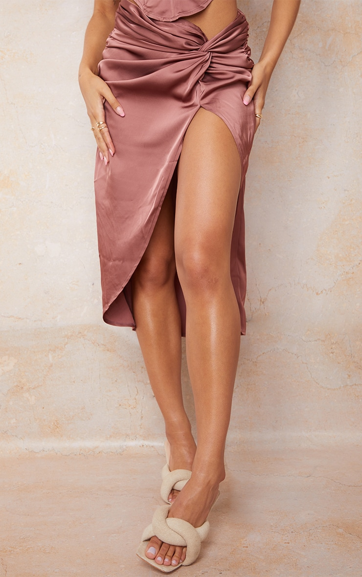 Clay Satin Knot Side Midi Skirt 2