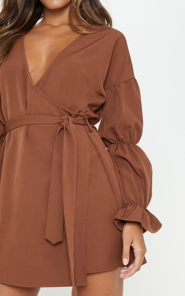 Chocolate Wrap Puff Sleeve Shift Dress 5