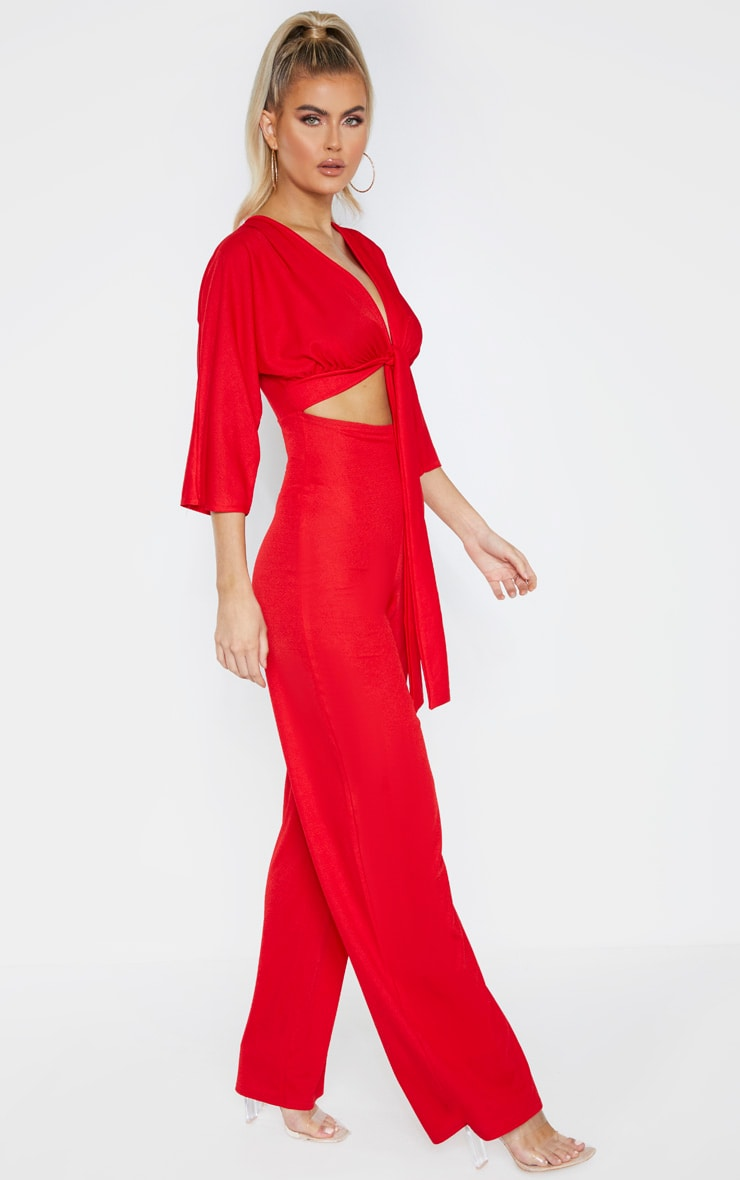 Tall Red Crepe Batwing Cut Out Jumpsuit 4