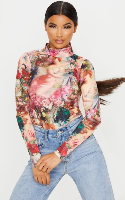 Multi Renaissance Printed High Neck Long Sleeve T Shirt