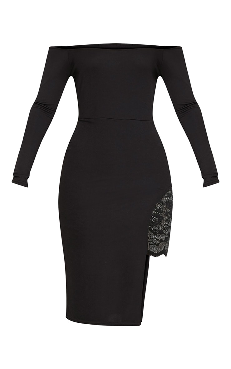 Florrie Black Bardot Lace Panel Midi Dress 3