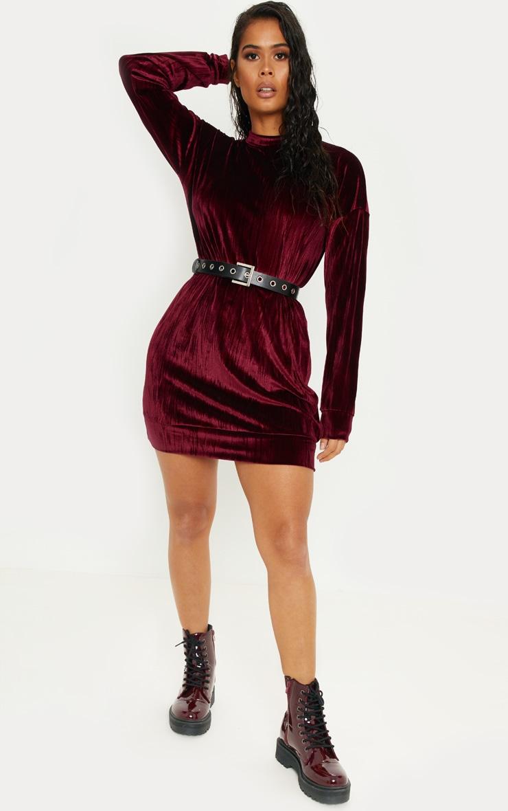 Burgundy Bamboo Velvet Oversized Jumper Dress by Prettylittlething