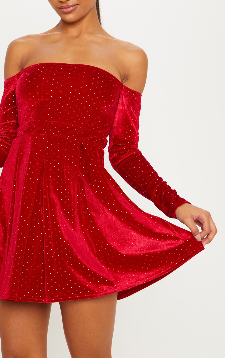 Red Velvet Studded Bardot Skater Dress 5