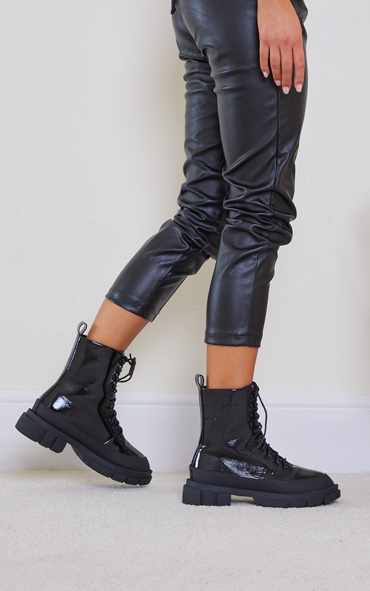 Black PU Lace Up Chunky Cleats Sole Biker Boots 2