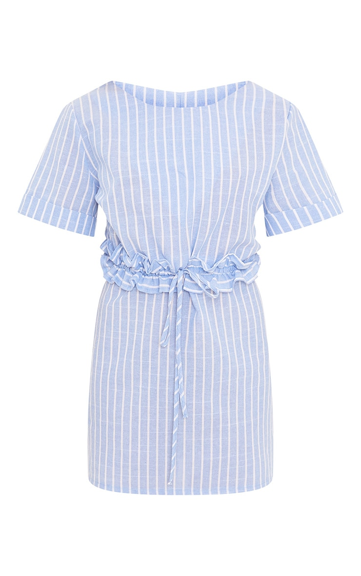 Kendrick Blue Pinstripe Frill Waist Detail Shift Dress 3