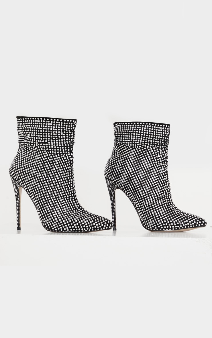 Black Diamante Slouch Ankle Boot 4