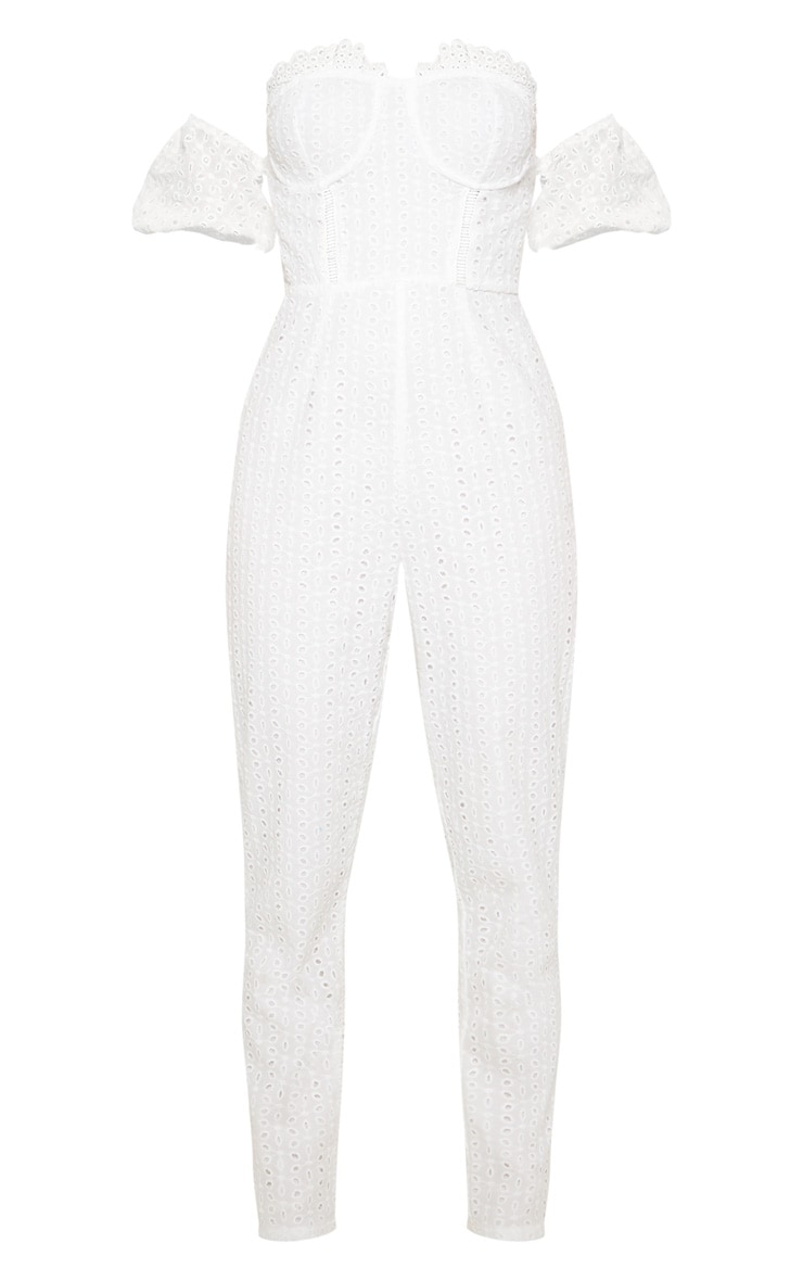 White Broderie Anglaise Bardot Jumpsuit 3