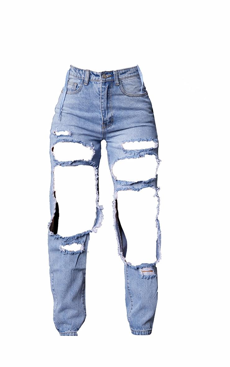 PRETTYLITTLETHING - Jean bleu très délavé ouvert aux cuisses 5