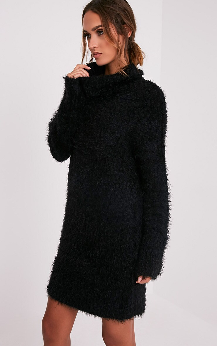 Fontaine Black Oversized Mohair Knit Jumper Dress 4