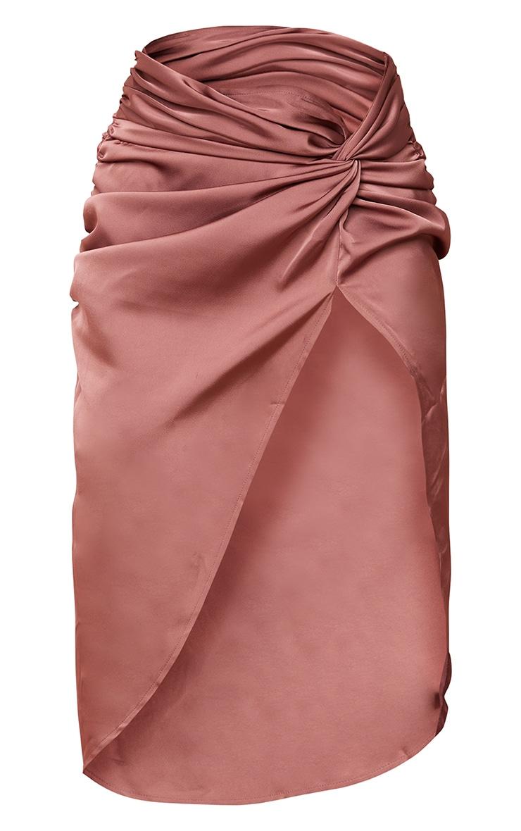 Clay Satin Knot Side Midi Skirt 5