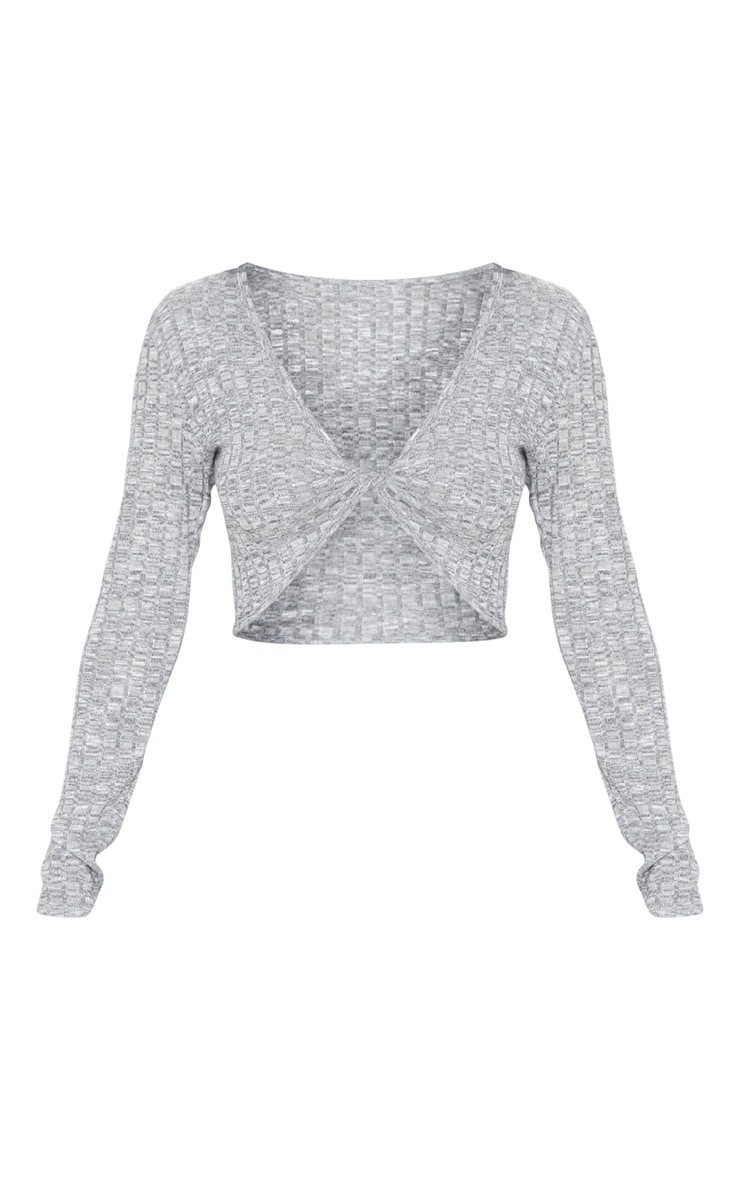 Grey Long Sleeve Twist Ribbed Knitted Top 5