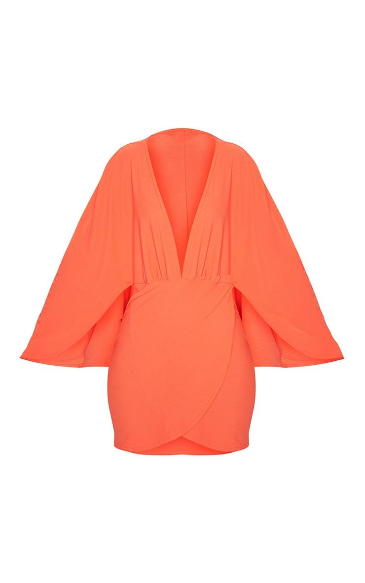 Bright Orange Plunge Cape Wrap Over Bodycon Dress 3