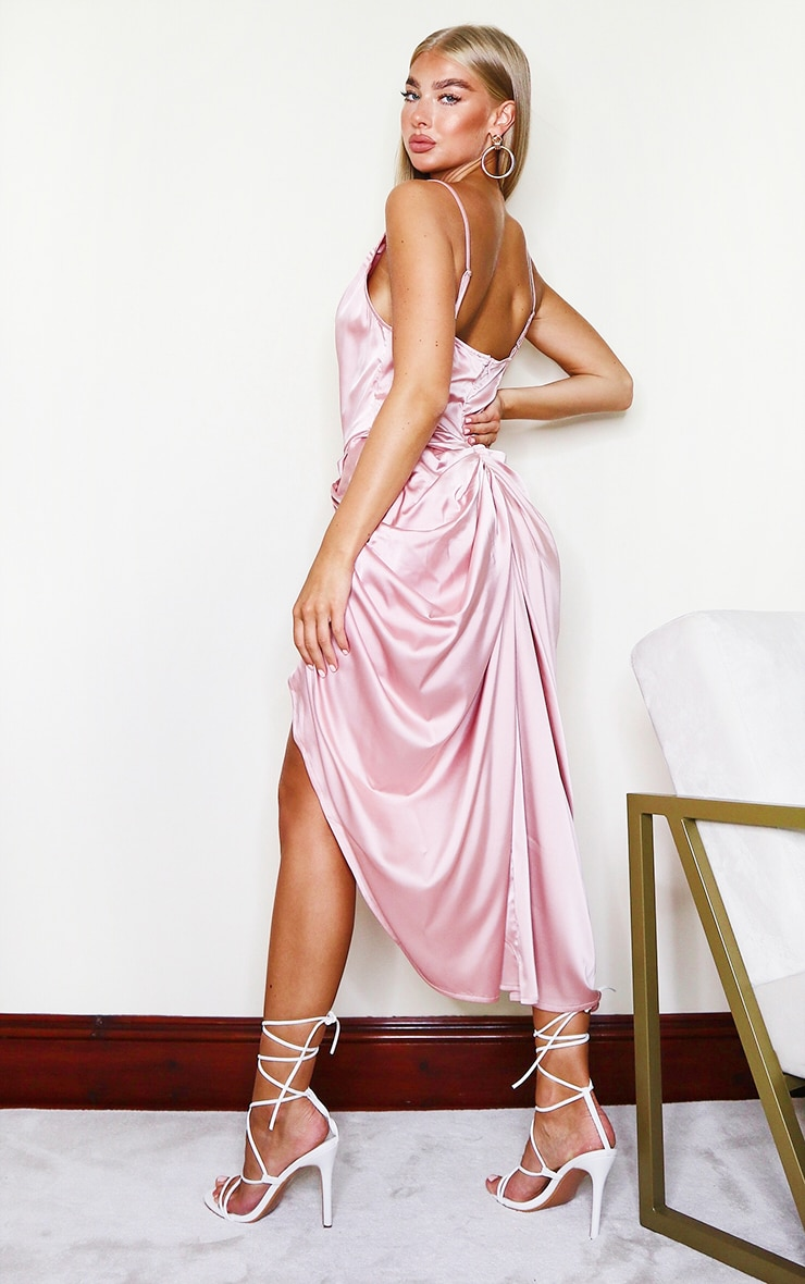 Rose Satin Strappy Cowl Neck Side Gathered Midi Dress 2
