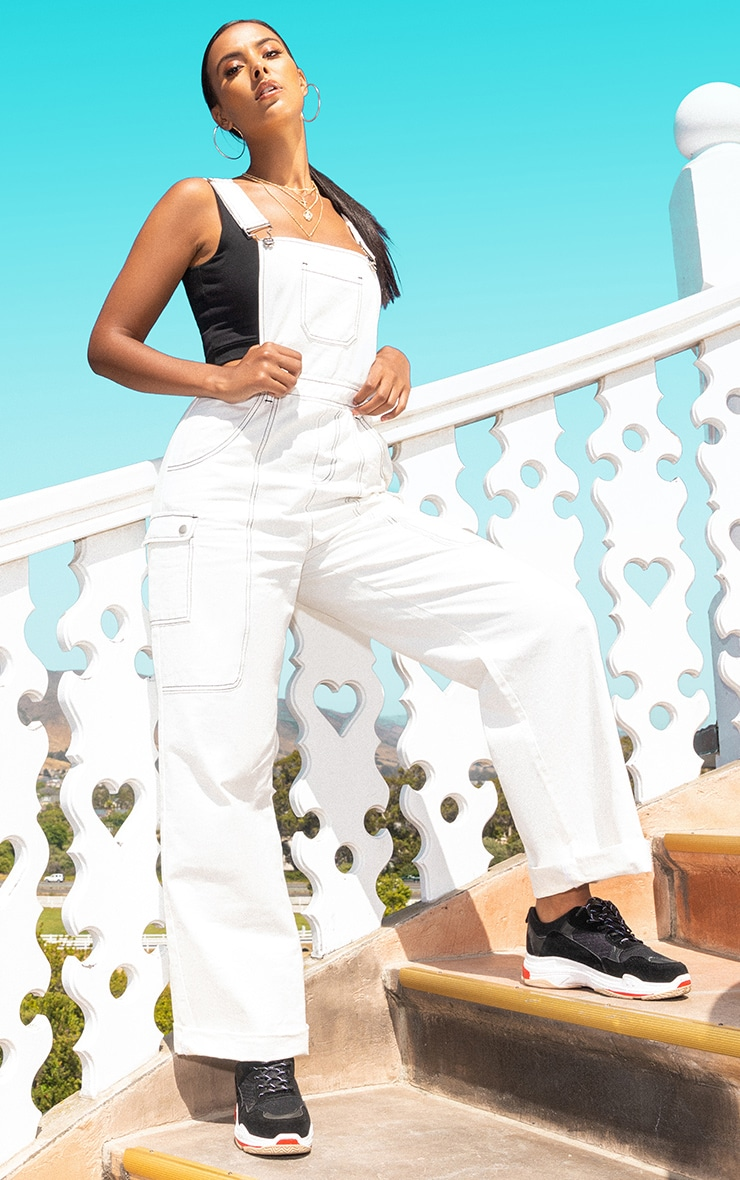 White Denim Wide Leg Dungarees 1