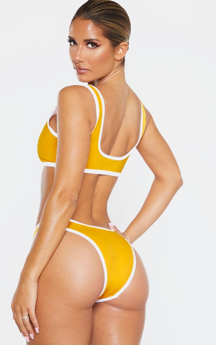 Orange Recycled Contrast Scoop Neck Bikini Top 2