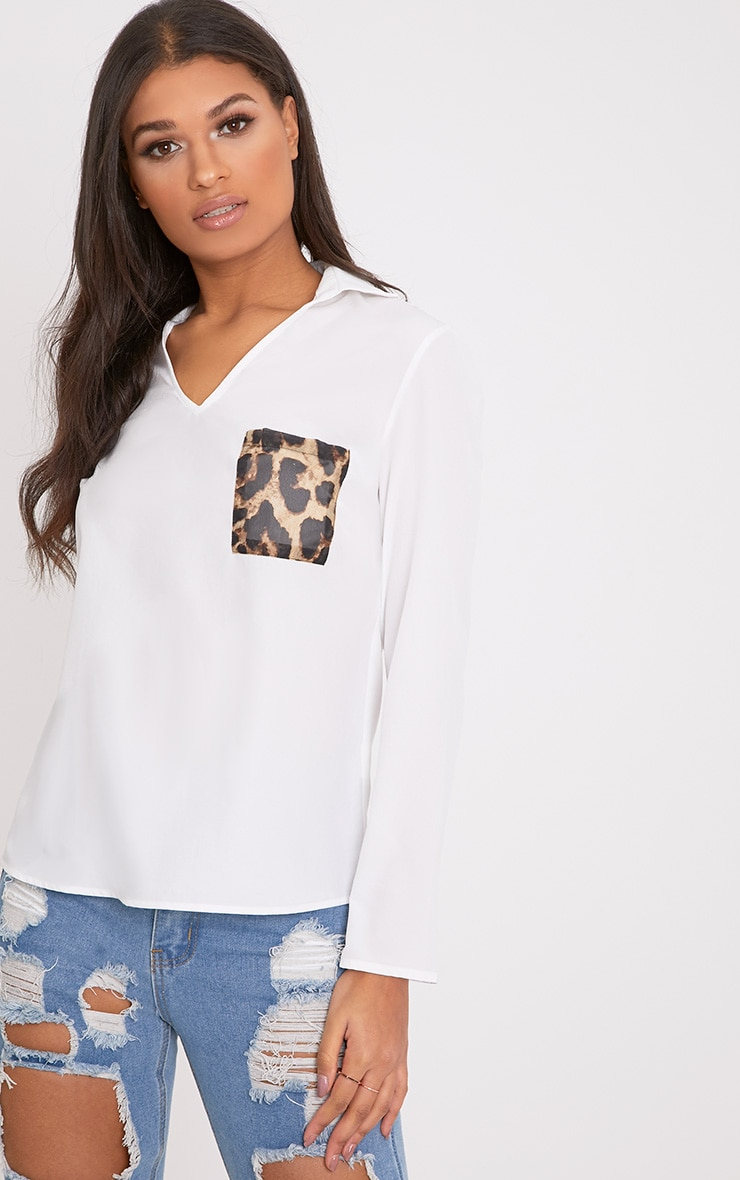 Florence White Leopard Print Pocket Blouse  1