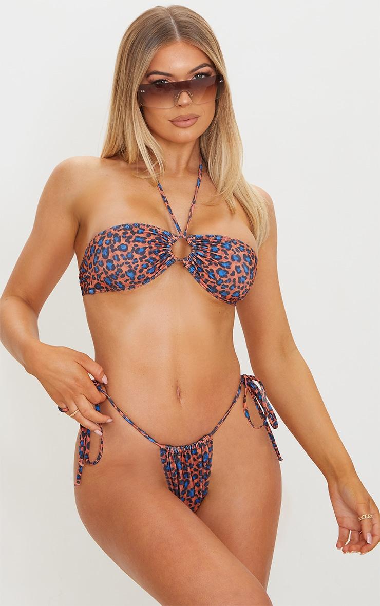 Orange Cheetah Print Tie Back Adjustable Mini Bikini Top 6