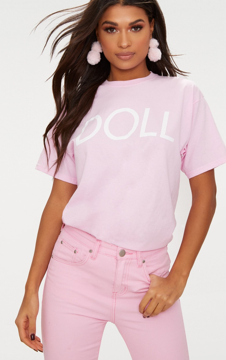 T-shirt oversized rose bébé à slogan Doll 2