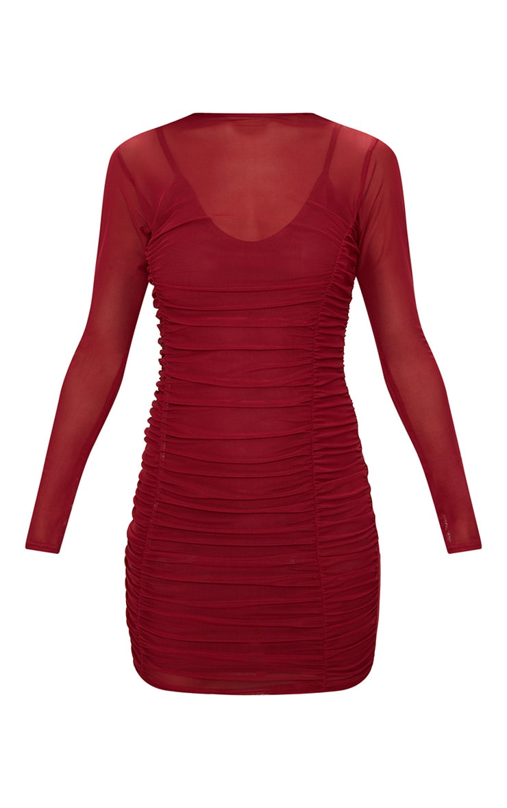 Wine Mesh Ruched Long Sleeve High Neck Bodycon Dress  3