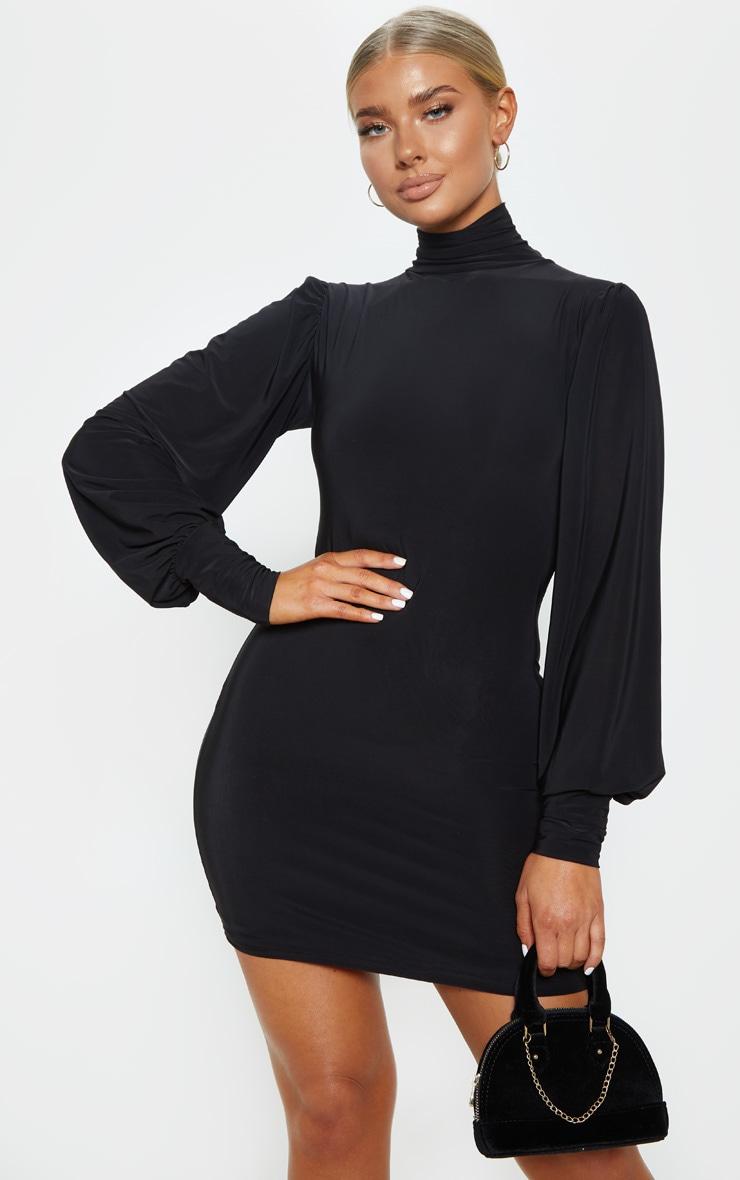 Black Slinky Long Sleeve High Neck Bodycon Dress 1