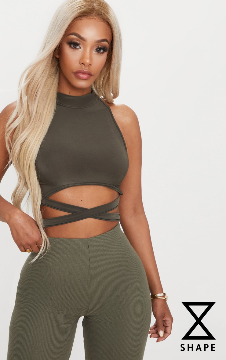 Shape Khaki Slinky High Neck Tie Waist Crop Top 1